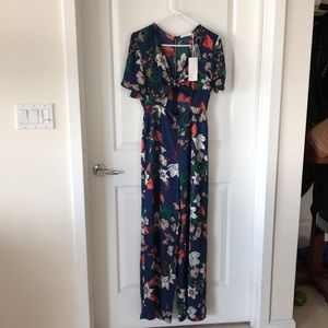 Navy blue floral jumpsuit